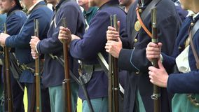 Civil War soldiers line up for battle stock video footage