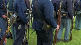 Civil War soldiers move into a formation stock video