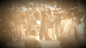 Civil War soldiers in a pitched battle (Archive Footage Version) stock video