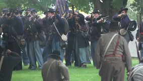 Civil War soldiers in a pitched battle stock video footage