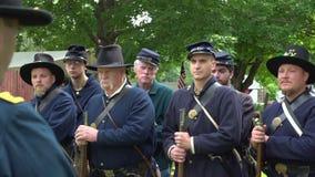 Civil War soldiers receiving orders. View of Civil War soldiers receiving orders stock footage