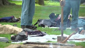 Civil War soldiers rest in camp stock footage