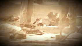 Civil War soldiers resting in camp (Archive Footage Version) stock footage