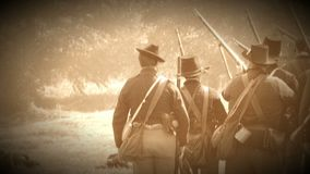 Civil War soldiers shooting across battlefield (Archive Footage Version). View of Civil War soldiers shooting across battlefield (Archive Footage Version stock footage