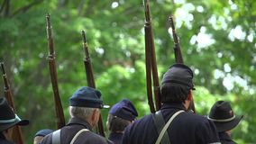 Civil War soldiers standing at ease stock video