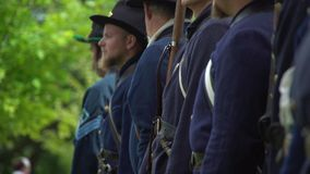 Civil War soldiers turn to march stock footage