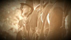 Civil War soldiers turning to march (Archive Footage Version) stock footage