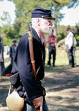Civil War Union Soldier. Man dressed as a Union soldier as part of a battle reenactment at  Beauvior, the Jefferson Davis House (confederate White House), in Stock Photos