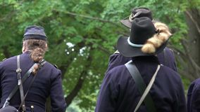 Civil War Union soldiers having a meeting stock video footage