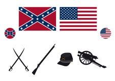 Civil War USA attributes vector. Symbols of the American Civil War. Vector illustration Stock Photography