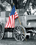 Civil war wagon American flag Stock Image