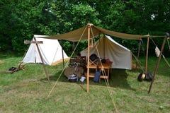 Civil war woman sewing under tent. Civil war dress, civil war setups, civil war tents, civil war events Stock Photography