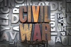 Civil War. Written in vintage letterpress type royalty free stock images