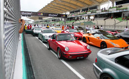 Civilian car parading at SUPER GT 2011 Royalty Free Stock Photo