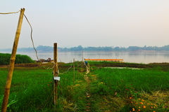 Civilian's pier between Thailand and Lao in countryside Royalty Free Stock Photos