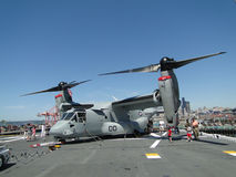 Civilians inspect an  MV-22 Osprey, Royalty Free Stock Images