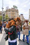 Civilians protesting the violence towards to street dogs,  solid. Skopje, Macedonia - April 9, 2017: Civilians protesting the violence towards to street dogs Stock Photo