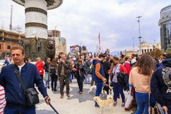 Civilians protesting the violence towards to street dogs,  solid. Skopje, Macedonia - April 9, 2017: Civilians protesting the violence towards to street dogs Stock Photos