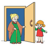 Civility. Girl holds the door for Grandma Stock Images