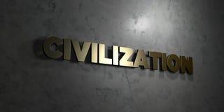 Civilización - texto del oro en fondo negro - imagen común libre rendida 3D de los derechos stock de ilustración