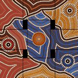 Civilization. A illustration based on aboriginal style of dot painting depicting civilization Royalty Free Stock Photo
