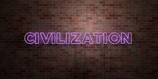 CIVILIZATION - fluorescent Neon tube Sign on brickwork - Front view - 3D rendered royalty free stock picture Royalty Free Stock Photography