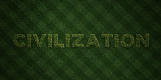 CIVILIZATION - fresh Grass letters with flowers and dandelions - 3D rendered royalty free stock image Stock Photography