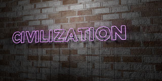 CIVILIZATION - Glowing Neon Sign on stonework wall - 3D rendered royalty free stock illustration Royalty Free Stock Image