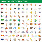 100 civilization icons set, cartoon style. 100 civilization icons set in cartoon style for any design vector illustration Royalty Free Stock Image