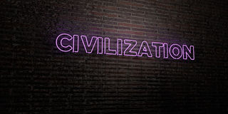 CIVILIZATION -Realistic Neon Sign on Brick Wall background - 3D rendered royalty free stock image Stock Image