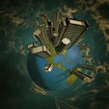 Civilization. Surreal painting. Planet Earth with skyscrapers. This image created in entirety by me from my own images and is entirely legal for me to sell and Stock Photos