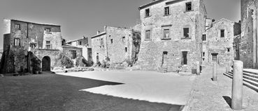 Civita Di Bagnoregio, Ιταλία - 17 Μαρτίου 2014: πόλης ` s κύριο τετράγωνο Στοκ Φωτογραφίες