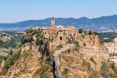 Civita di Bagnoregio. Panorama or also called Dying City. village of Etruscan origin near Rome Italy built on a tuff mountain Royalty Free Stock Photography
