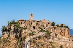 Civita di Bagnoregio. Panorama or also called Dying City. village of Etruscan origin near Rome Italy built on a tuff mountain Stock Image