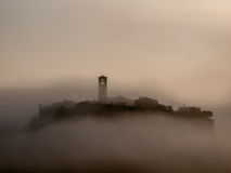 Civita di Bagnoregio in a fog. Italy Stock Photos