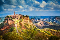 Civita di Bagnoregio Italy fortress hilltown. Civita di Bagnoregio Italy.  Fortress hilltown in the badlands of Italy Stock Photography