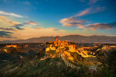 Civita di Bagnoregio landmark, aerial panoramic view on sunset. Royalty Free Stock Photos