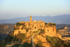 Civita di Bagnoregio landmark, aerial panoramic view on sunset. Italy Royalty Free Stock Photography