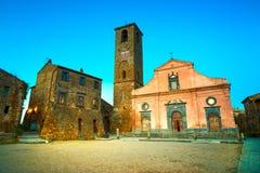 Civita di Bagnoregio landmark, medieval village view on twilight Royalty Free Stock Images