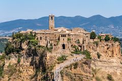 Civita di Bagnoregio. Panorama or also called Dying City. village of Etruscan origin near Rome Italy built on a tuff mountain Royalty Free Stock Photo