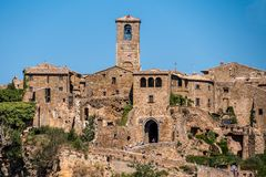 Civita di Bagnoregio. Panorama or also called Dying City. village of Etruscan origin near Rome Italy built on a tuff mountain Royalty Free Stock Image