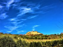 Civita Di Bagnoregio, stad in de provincie van Viterbo, Italië Geschiedenis, tijd, kunst en landschap stock foto's