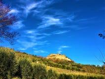 Civita Di Bagnoregio, stad in de provincie van Viterbo, Italië Geschiedenis, tijd, kunst en landschap stock fotografie