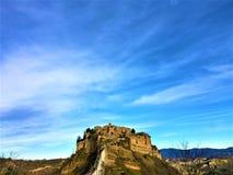 Civita Di Bagnoregio, stad in de provincie van Viterbo, Italië Geschiedenis, tijd, kunst en landschap stock foto
