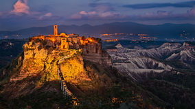 Civita di Bagnoregio, Viterbo, Lazio, Italy: landscape at twilight Stock Images