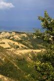 Lazio. Civita di Bagnoregio VT, Italy - May 15, 2016: Soft eroded clay landscape around Civita di Bagnoregio, Tuscia, Lazio, Italy stock images