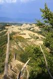 Lazio. Civita di Bagnoregio VT, Italy - May 15, 2016: Soft eroded clay landscape around Civita di Bagnoregio, Tuscia, Lazio, Italy royalty free stock image