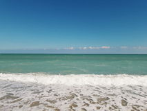 Civitanova Marche. Emerald sea and blue sky Stock Photos