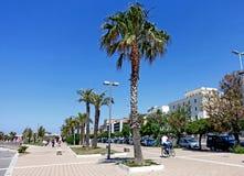 Civitavecchia avenue. Civitavecchia Rome Italy,The main avenue of the city adorned with palm trees bordering the coast stock images