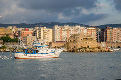 Civitavecchia with fishing boat Royalty Free Stock Image